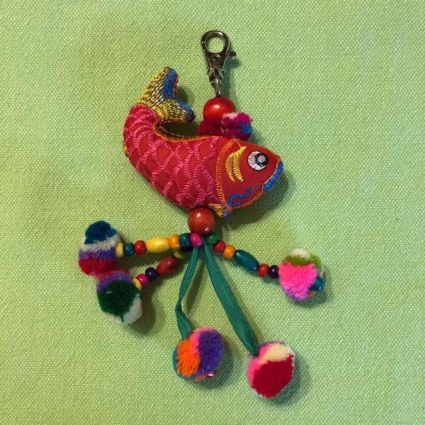 Bunter Schlüsselanhänger Fisch, handmade