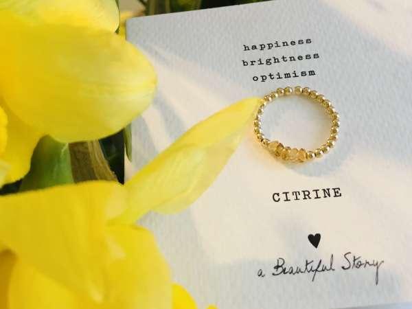 Stadt-Land-Kult Gold-Ring mit Edelstein gelb