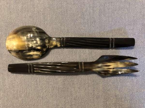 Horn Salatbesteck fairtrade Produkt handmade Unikat