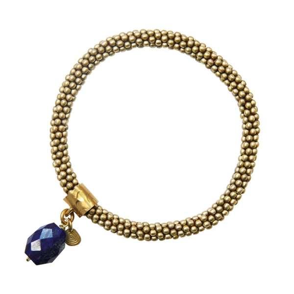 Perlenarmband gold mit Lapis Lazuli Edelstein