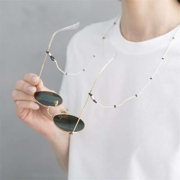 A beautiful story Brillenkette mit Edelsteinen Rauchquarz