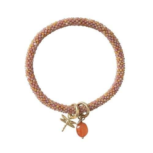 Perlenarmband mit vergoldeter Libelle und Edelstein