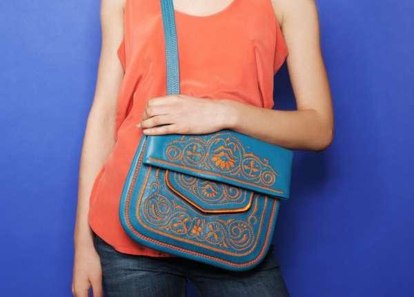 Berber Bag, türkis-gelb