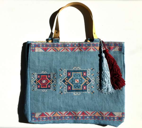 Jute-Shopper, Marrocain blue