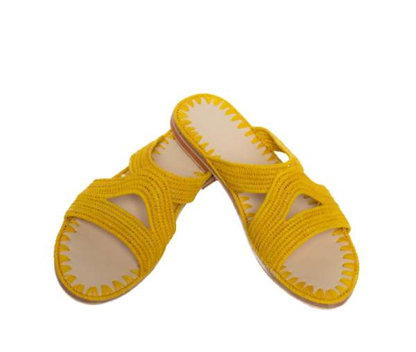 Sommersandale aus Bast in gelb von ABURY