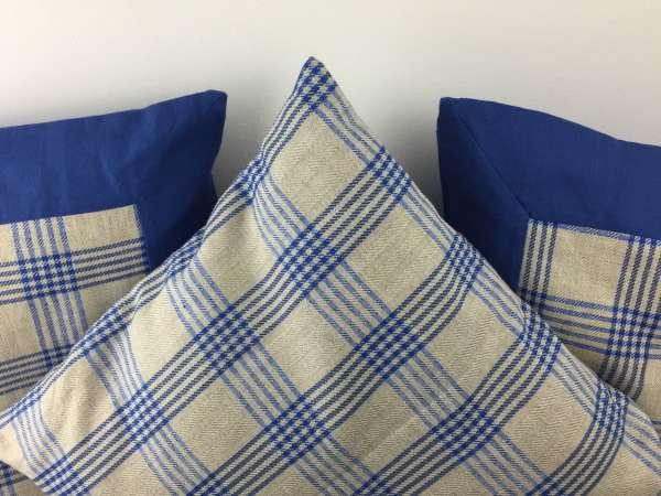 Caro Kissen 30x30 Baumwoll-Leinen blau-natur