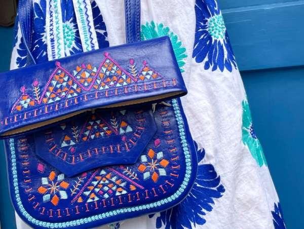 Blaue Handtasche ABURY handmade Leder