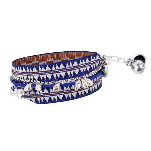 Inka Armband, blau silber