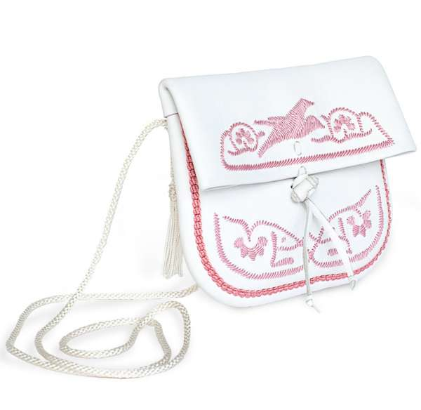 Handtasche petit, weiß-rosa