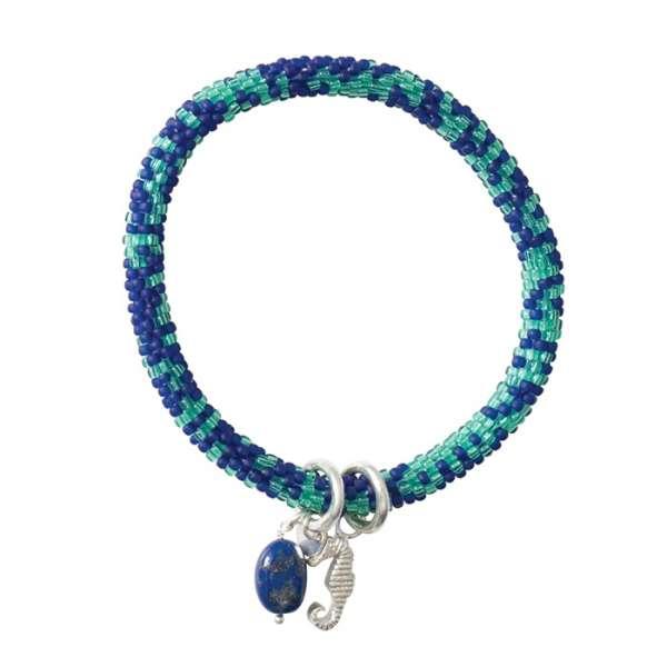 Blaues Armband mit Seepferdchen und Lapislazuli
