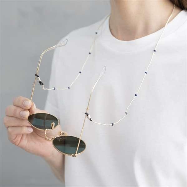 A beautiful story Brillenkette mit Edelsteinen Lapislazuli