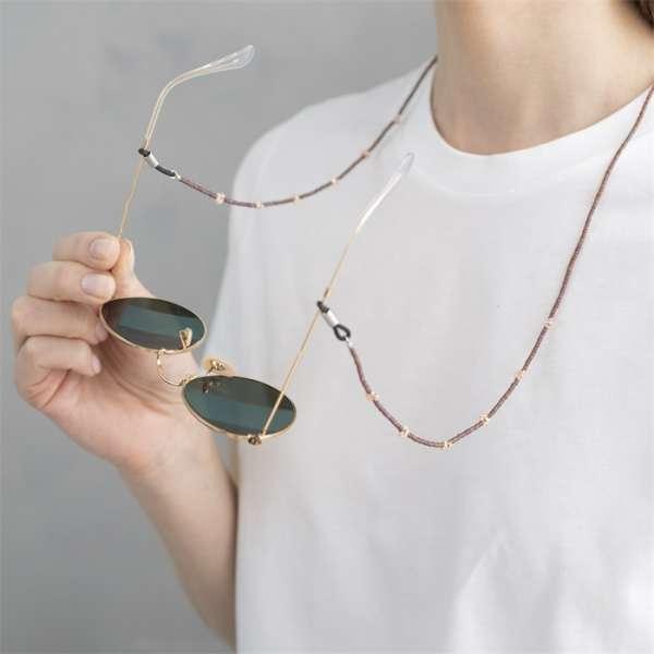 Lange Brillenkette mit Edelsteinen Rosenquarz