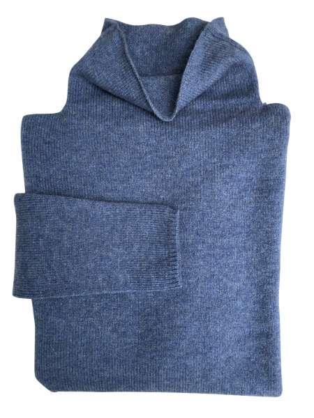 Kaschmirpullover in blau, edelziege