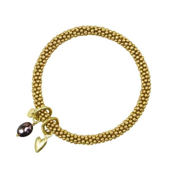 Gold Armband Perlen mit Herz und Edelstein Granat