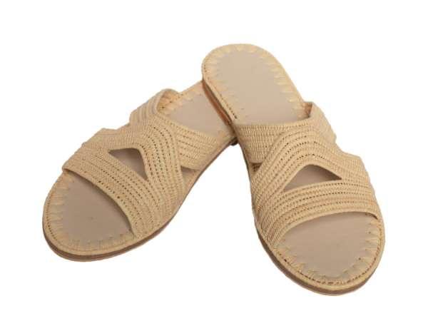 Sandale beige aus Bast Abury handmade