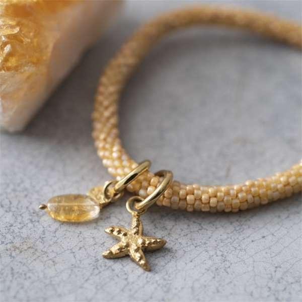 Gelbes Armband mit Seestern und Edelstein Citrine abeautifulstory