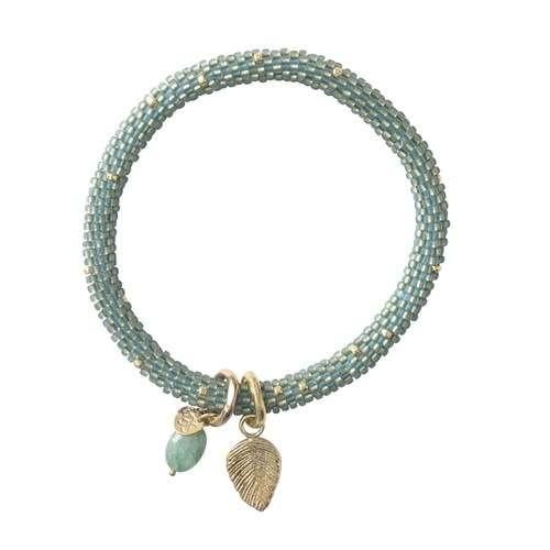 Perlen-Armband Jacky mit Aventurin und Goldblatt