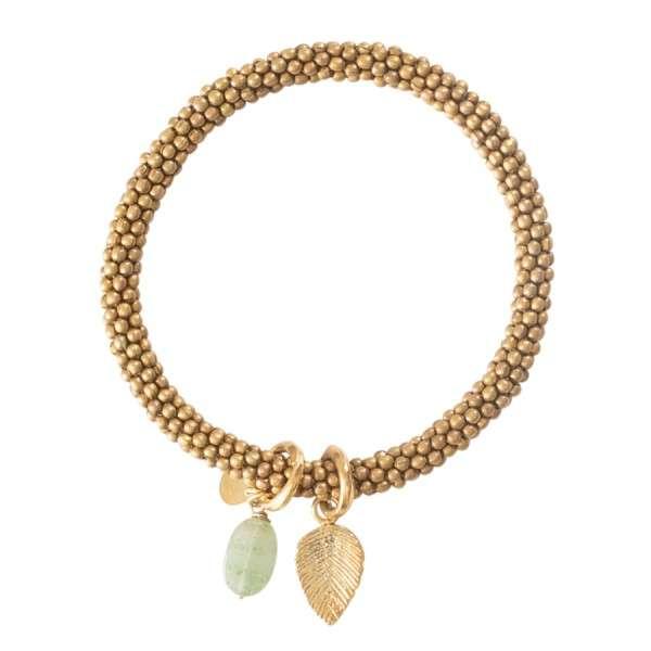 Gold Armband mit Edelstein und Blattanhänger a beautifulstory