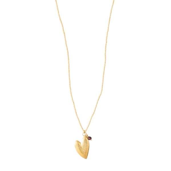Halskette mit goldenem Herz & Granat abeautifulstory
