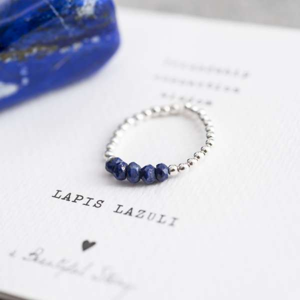 Stadt-Land-Kult Silber-Ring aus Perlen mit Edelstein Lapislazuli
