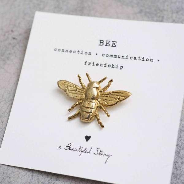 Bienenbrosche gold abeautifulstory handmade