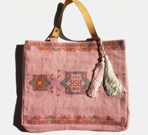 Jute-Shopper, Marrocain rose
