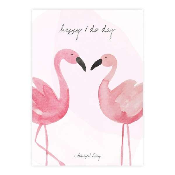 Stadt-Land-Kult Klappkarte mit Flamingos