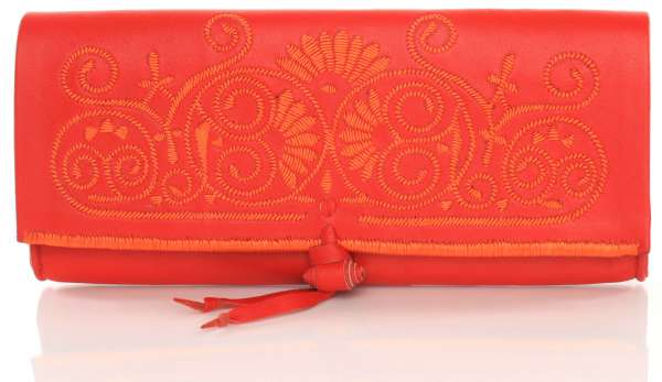 Leder-Clutch rot-orange
