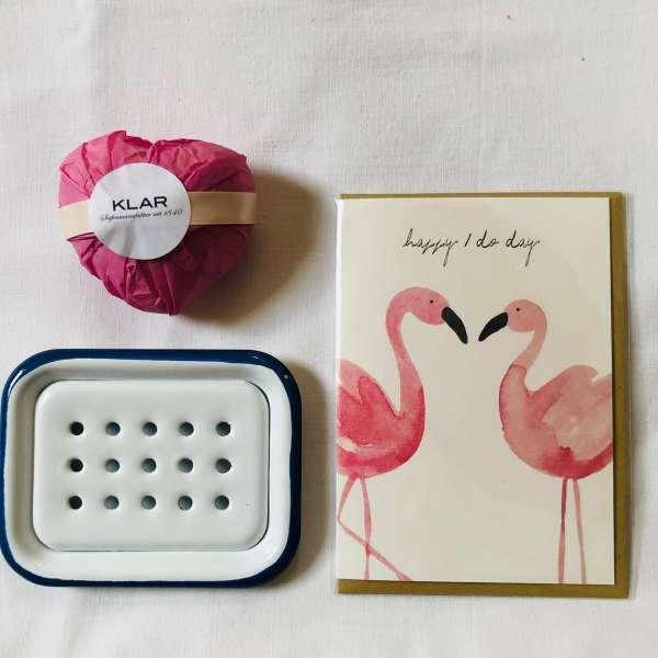 Geschenkset: Naturseife ROSE mit Seifenschale und Klappkarte