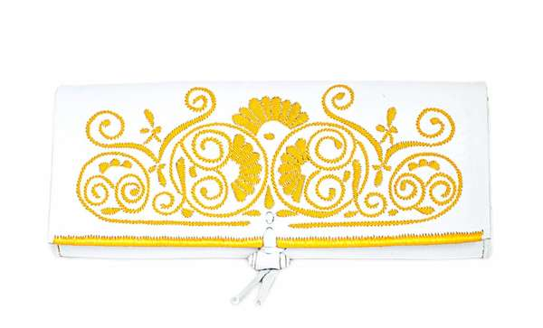 abury Berber Clutch in weiß gelb